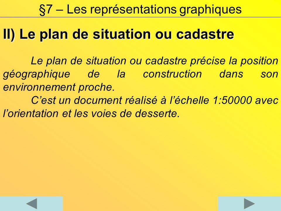 II) Le plan de situation ou cadastre Le plan de situation ou cadastre précise la position géographique de la construction dans son environnement proch