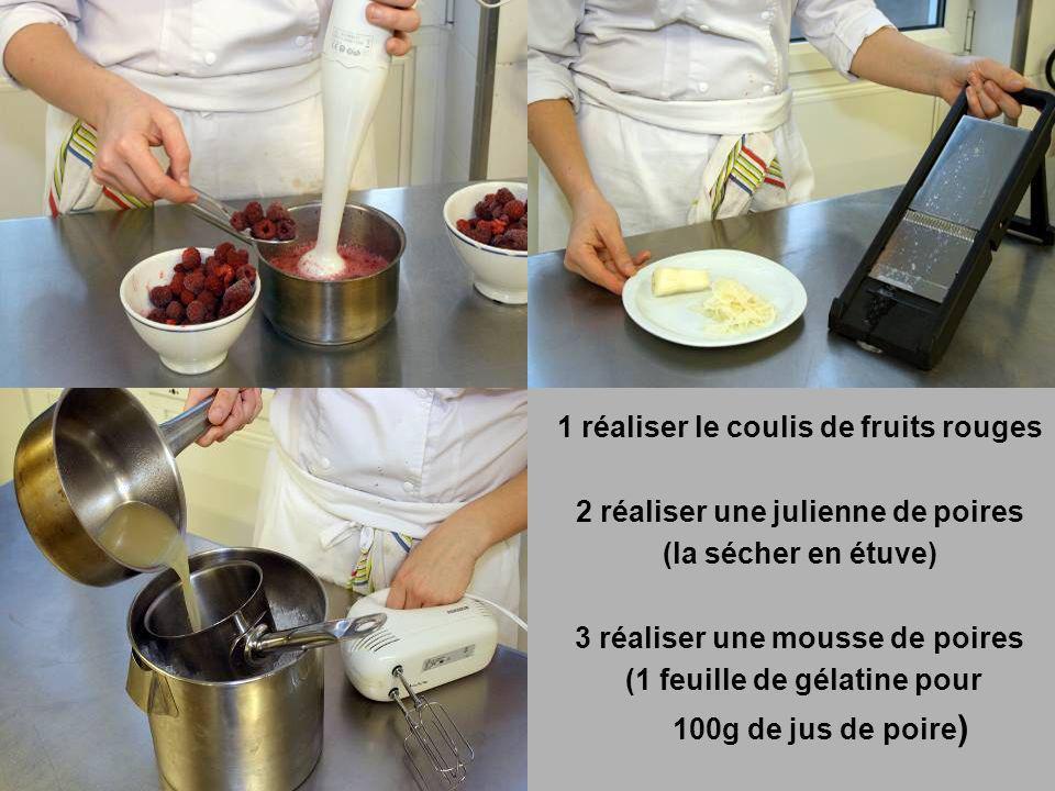 1 réaliser le coulis de fruits rouges 2 réaliser une julienne de poires (la sécher en étuve) 3 réaliser une mousse de poires (1 feuille de gélatine po