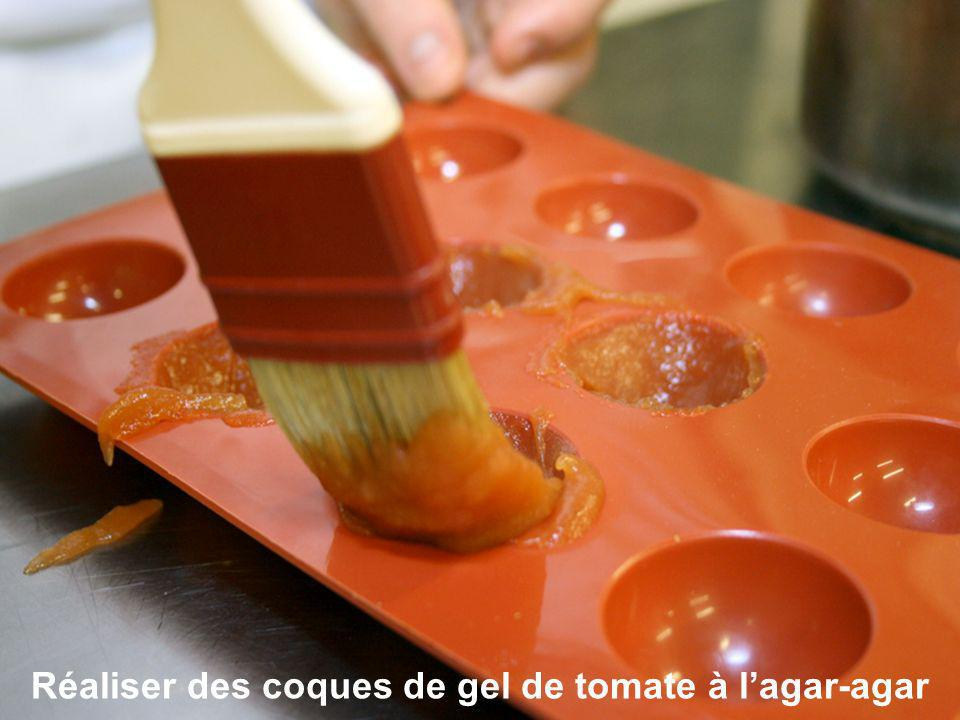 Réaliser des coques de gel de tomate à lagar-agar