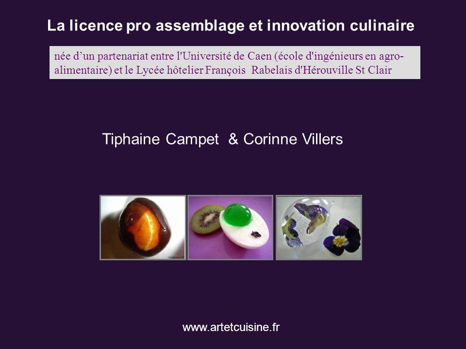 La licence pro assemblage et innovation culinaire Tiphaine Campet & Corinne Villers www.artetcuisine.fr née dun partenariat entre l'Université de Caen