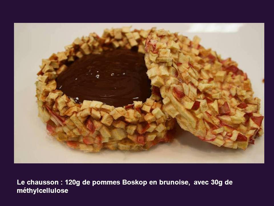 Le chausson : 120g de pommes Boskop en brunoise, avec 30g de méthylcellulose