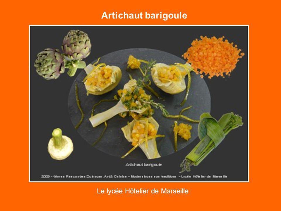 Artichaut barigoule Le lycée Hôtelier de Marseille