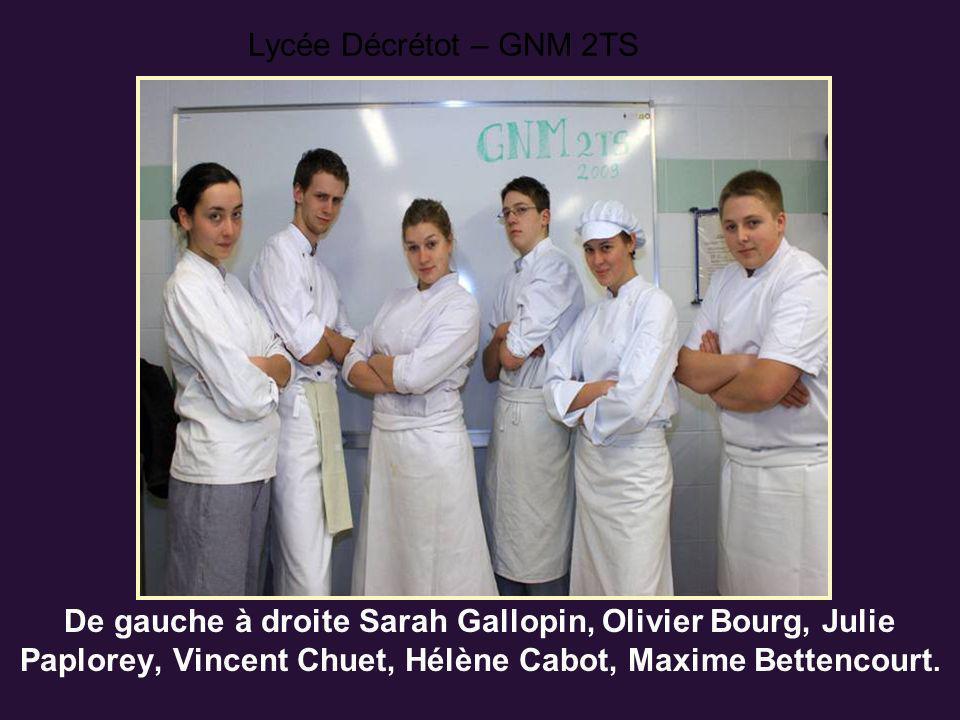 De gauche à droite Sarah Gallopin, Olivier Bourg, Julie Paplorey, Vincent Chuet, Hélène Cabot, Maxime Bettencourt. Lycée Décrétot – GNM 2TS