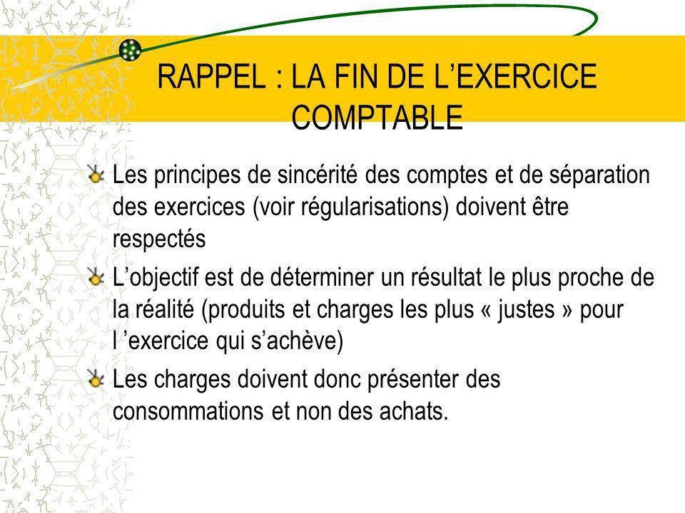 RAPPEL : LA FIN DE LEXERCICE COMPTABLE Les principes de sincérité des comptes et de séparation des exercices (voir régularisations) doivent être respe