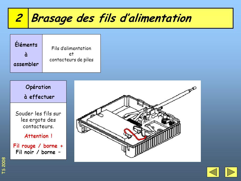 Brasage des fils dalimentation2 Éléments à assembler Fils dalimentation et contacteurs de piles Opération à effectuer Souder les fils sur les ergots d