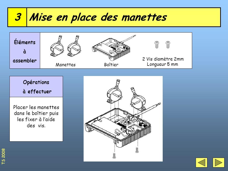 Mise en place des manettes3 ManettesBoîtier Éléments à assembler Opérations à effectuer Placer les manettes dans le boîtier puis les fixer à laide des