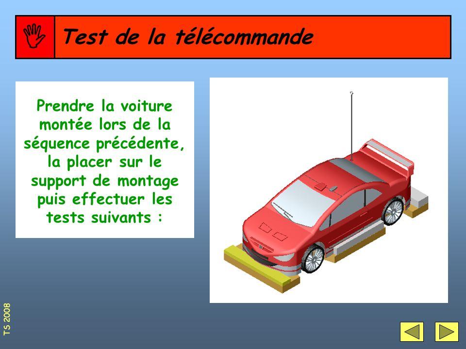 Test de la télécommande Prendre la voiture montée lors de la séquence précédente, la placer sur le support de montage puis effectuer les tests suivant