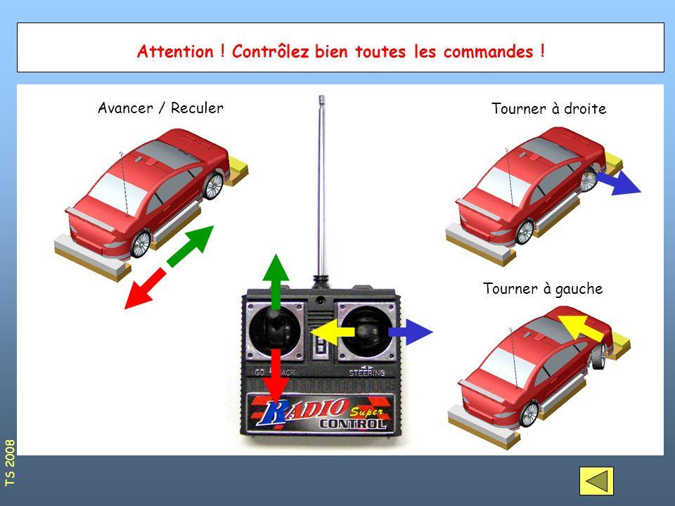 Attention ! Contrôlez bien toutes les commandes ! Avancer / Reculer Tourner à droite Tourner à gauche TS 2008