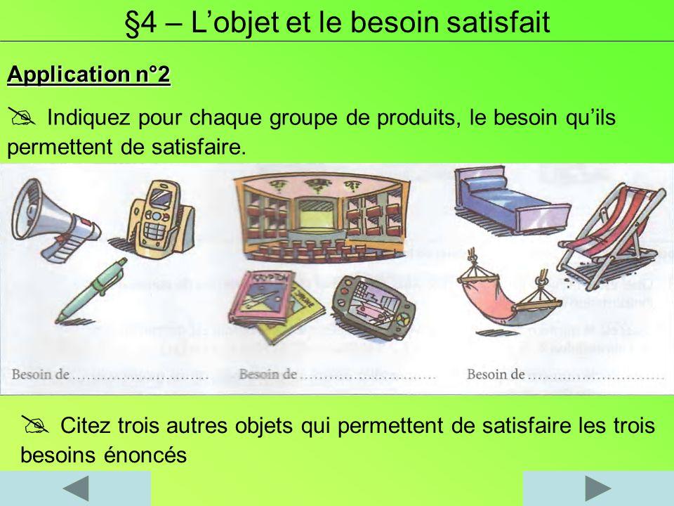 Application n°2 Indiquez pour chaque groupe de produits, le besoin quils permettent de satisfaire. §4 – Lobjet et le besoin satisfait Citez trois autr