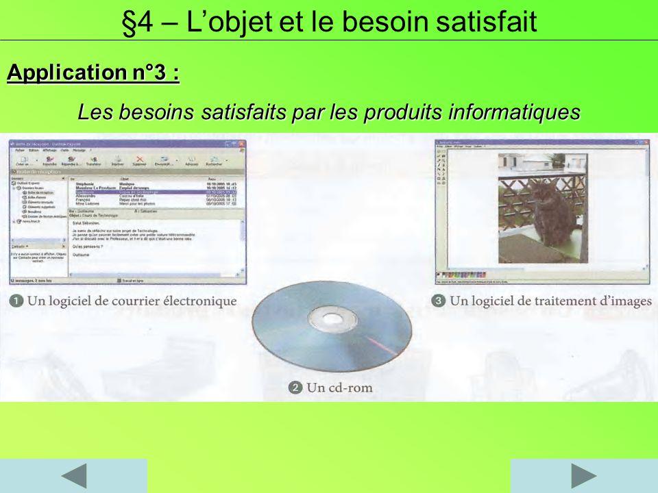 Application n°3 : Les besoins satisfaits par les produits informatiques §4 – Lobjet et le besoin satisfait