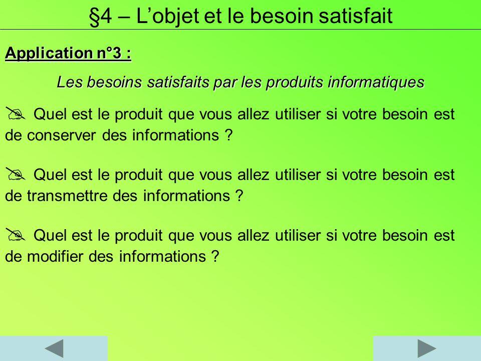 Application n°3 : Les besoins satisfaits par les produits informatiques §4 – Lobjet et le besoin satisfait Quel est le produit que vous allez utiliser