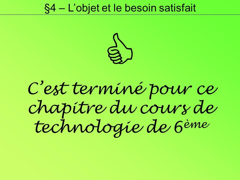 Cest terminé pour ce chapitre du cours de technologie de 6 ème §4 – Lobjet et le besoin satisfait