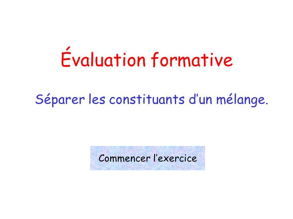 Évaluation formative Séparer les constituants dun mélange. Commencer lexercice