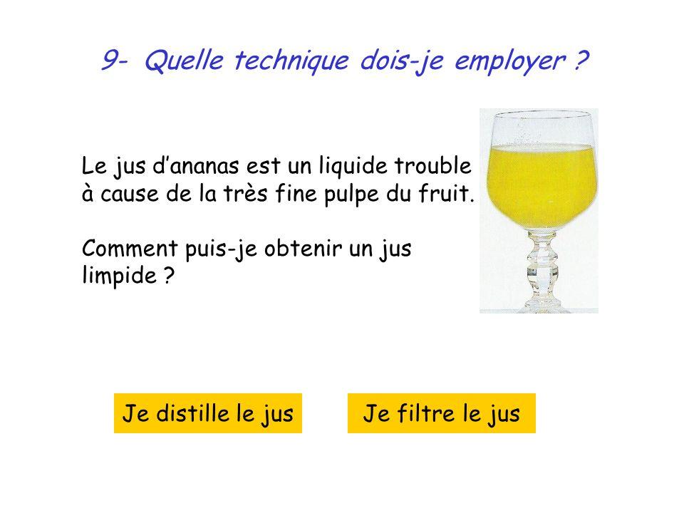9- Quelle technique dois-je employer ? Le jus dananas est un liquide trouble à cause de la très fine pulpe du fruit. Comment puis-je obtenir un jus li