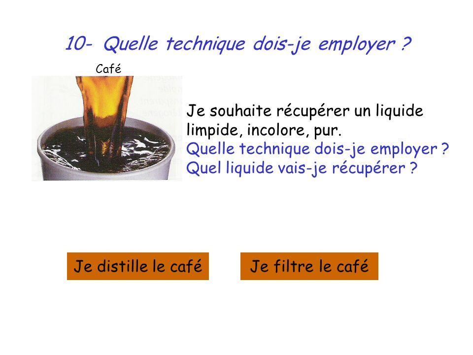 10- Quelle technique dois-je employer ? Je souhaite récupérer un liquide limpide, incolore, pur. Quelle technique dois-je employer ? Quel liquide vais