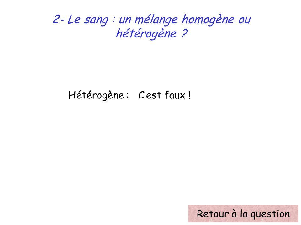 2- Le sang : un mélange homogène ou hétérogène ? Hétérogène : Cest faux ! Retour à la question