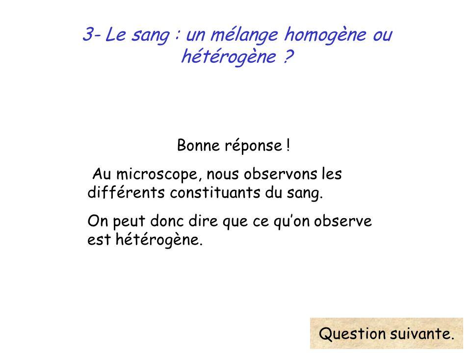 3- Le sang : un mélange homogène ou hétérogène ? Bonne réponse ! Au microscope, nous observons les différents constituants du sang. On peut donc dire