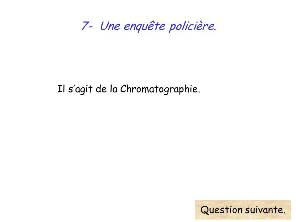 7- Une enquête policière. Il sagit de la Chromatographie. Question suivante.