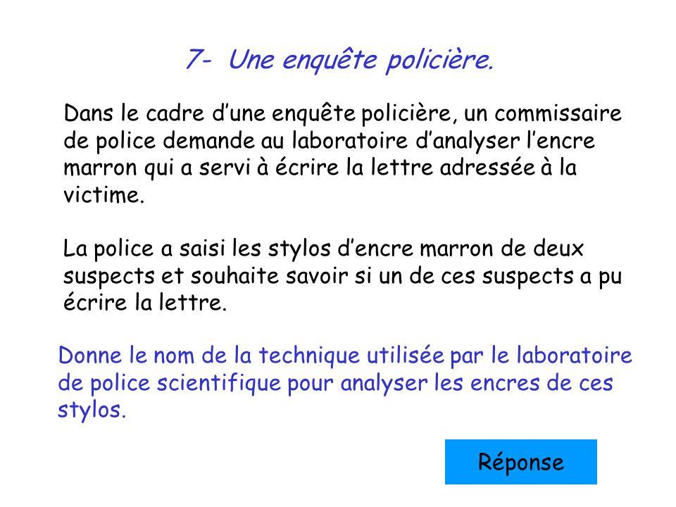 8- Une enquête policière (suite…) Observe bien le résultat de cette chromatographie… Compare les tâches de chacun des échantillons analysés.