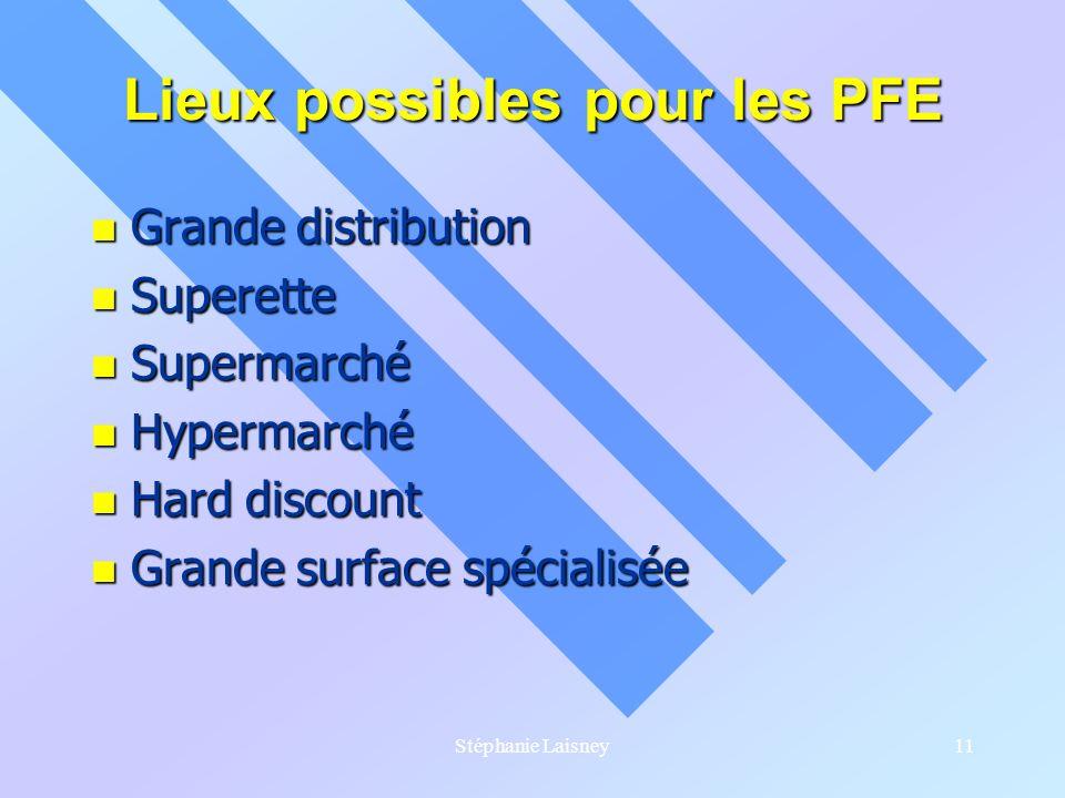 Stéphanie Laisney11 Lieux possibles pour les PFE Grande distribution Grande distribution Superette Superette Supermarché Supermarché Hypermarché Hyper