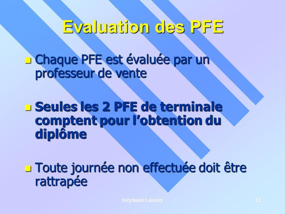 Stéphanie Laisney12 Evaluation des PFE Chaque PFE est évaluée par un professeur de vente Chaque PFE est évaluée par un professeur de vente Seules les