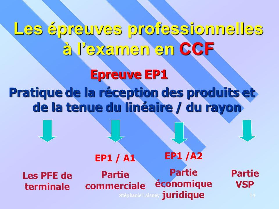 Stéphanie Laisney14 Les épreuves professionnelles à lexamen en CCF Epreuve EP1 Epreuve EP1 Pratique de la réception des produits et de la tenue du lin