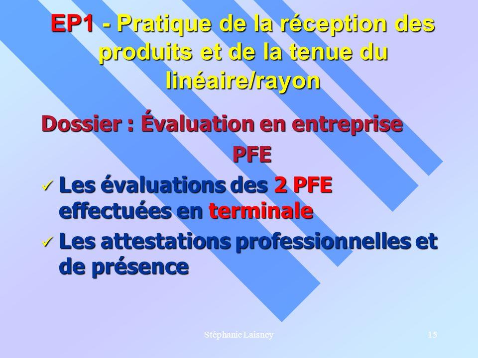 Stéphanie Laisney15 Dossier : Évaluation en entreprise PFE Les évaluations des 2 PFE effectuées en terminale Les évaluations des 2 PFE effectuées en t
