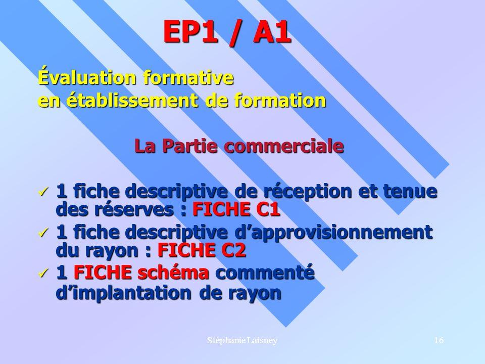 Stéphanie Laisney16 Évaluation formative en établissement de formation La Partie commerciale 1 fiche descriptive de réception et tenue des réserves :