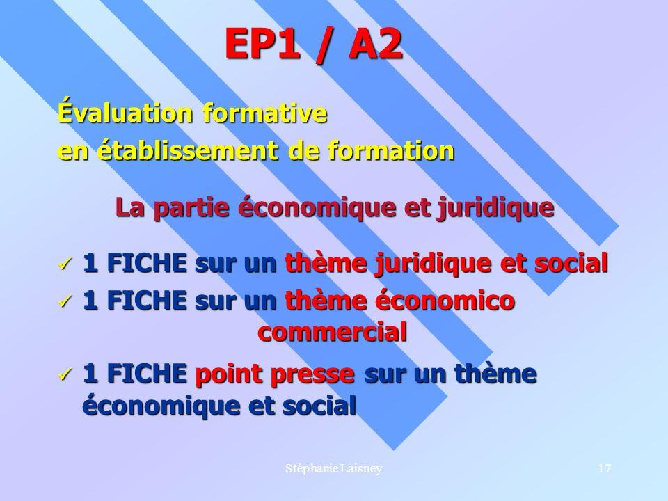 Stéphanie Laisney17 Évaluation formative en établissement de formation La partie économique et juridique 1 FICHE sur un thème juridique et social 1 FI