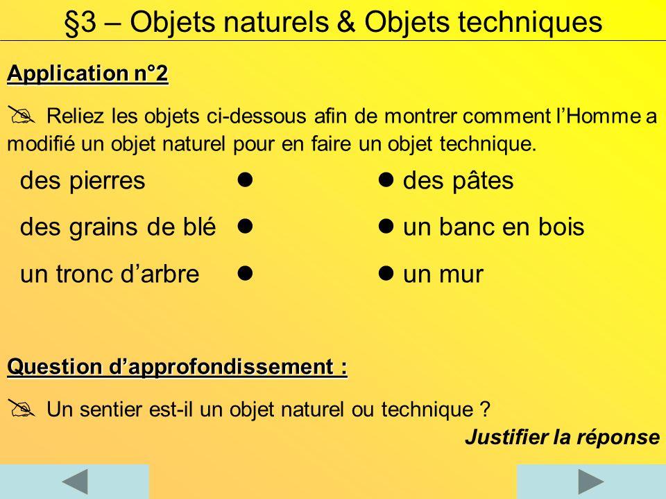 Application n°2 §3 – Objets naturels & Objets techniques Reliez les objets ci-dessous afin de montrer comment lHomme a modifié un objet naturel pour en faire un objet technique.
