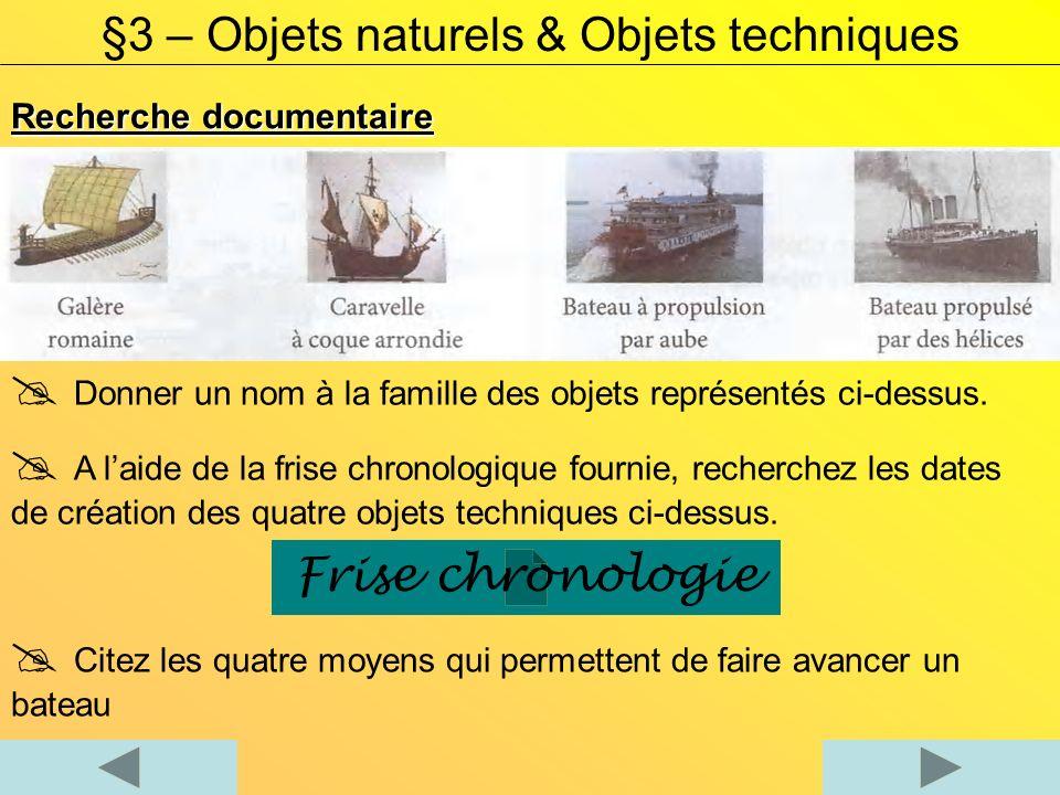 Recherche documentaire §3 – Objets naturels & Objets techniques Donner un nom à la famille des objets représentés ci-dessus.