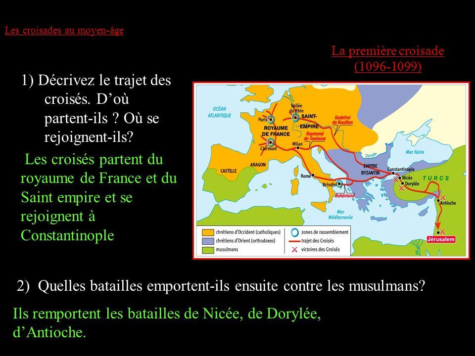 Les croisades au moyen-âge La première croisade (1096-1099) 1) Décrivez le trajet des croisés. Doù partent-ils ? Où se rejoignent-ils? 2) Quelles bata
