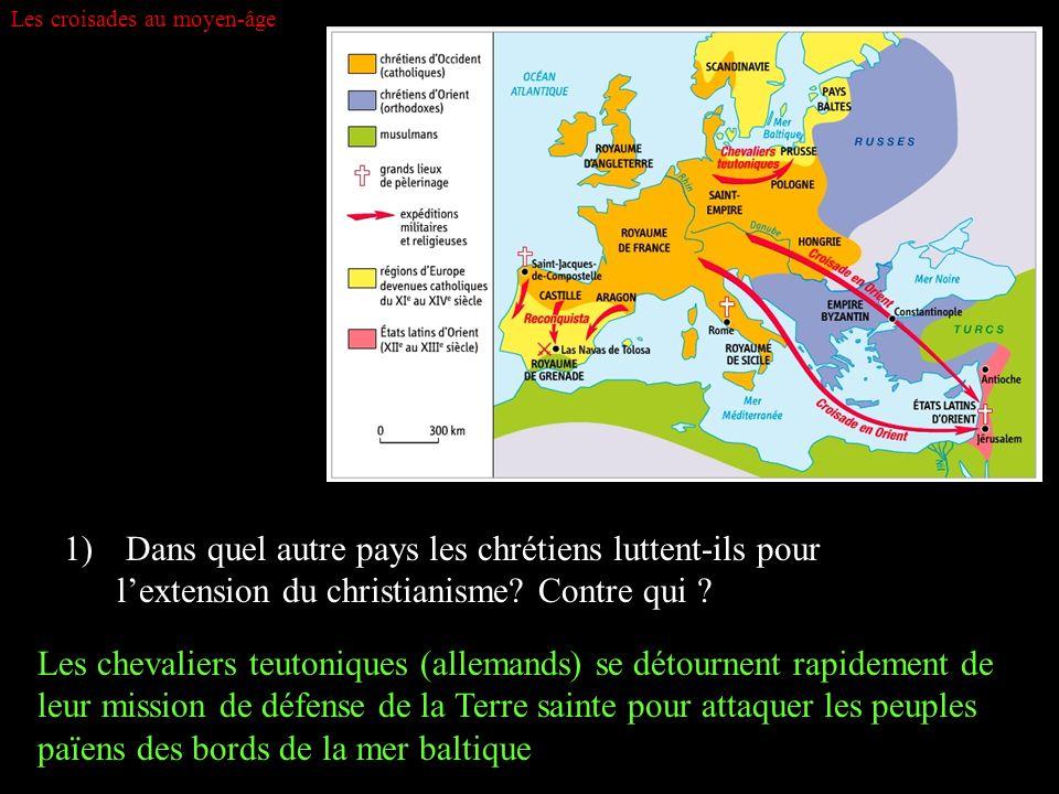 Les croisades au moyen-âge 1) Dans quel autre pays les chrétiens luttent-ils pour lextension du christianisme? Contre qui ? Les chevaliers teutoniques