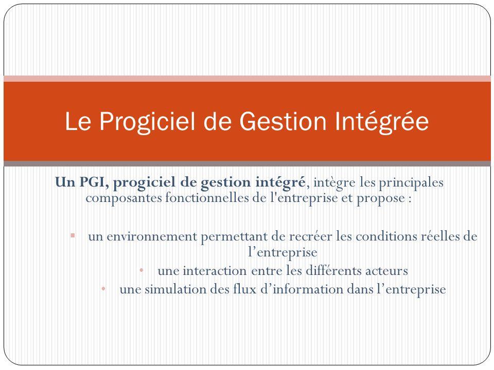 Un PGI, progiciel de gestion intégré, intègre les principales composantes fonctionnelles de l entreprise et propose : un environnement permettant de recréer les conditions réelles de lentreprise une interaction entre les différents acteurs une simulation des flux dinformation dans lentreprise Le Progiciel de Gestion Intégrée