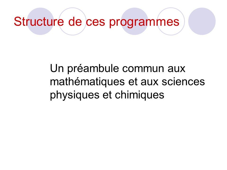 Structure de ces programmes Un préambule commun aux mathématiques et aux sciences physiques et chimiques