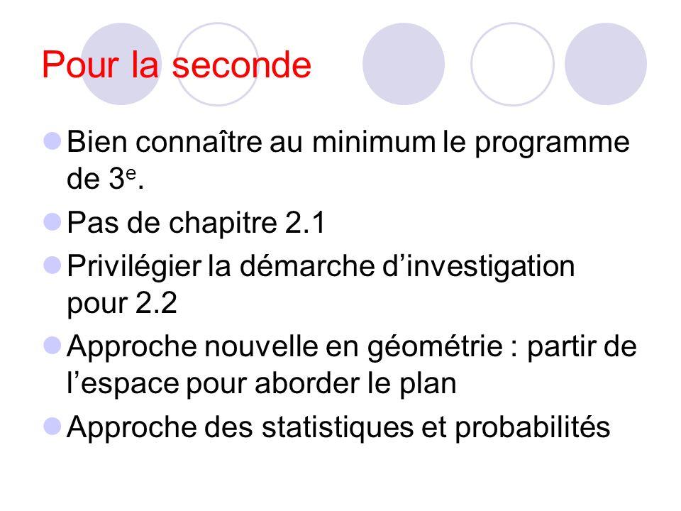 Pour la seconde Bien connaître au minimum le programme de 3 e.