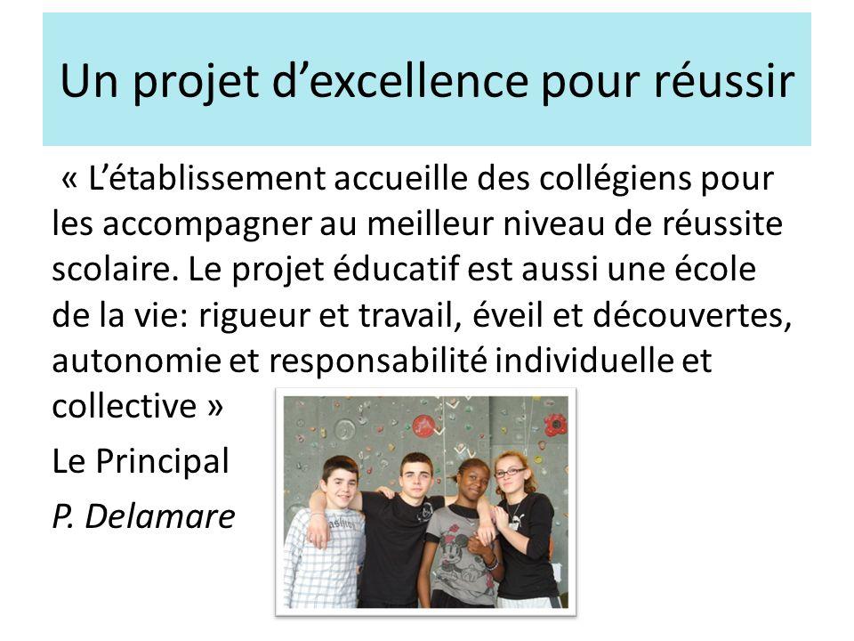 Un projet dexcellence pour réussir « Létablissement accueille des collégiens pour les accompagner au meilleur niveau de réussite scolaire.