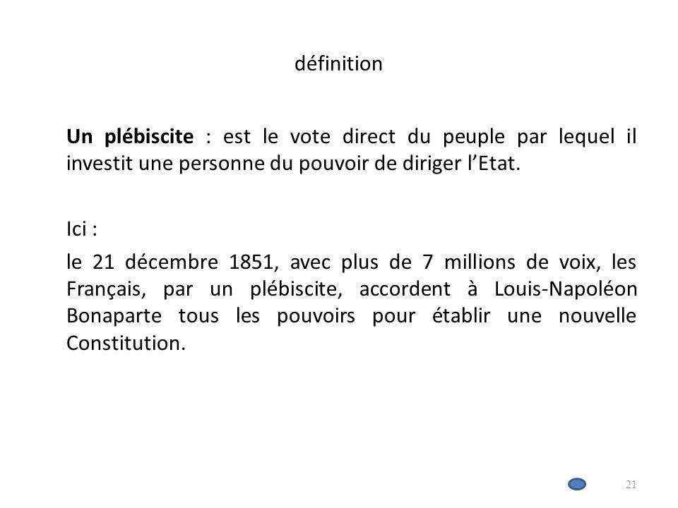 définition Un plébiscite : est le vote direct du peuple par lequel il investit une personne du pouvoir de diriger lEtat.