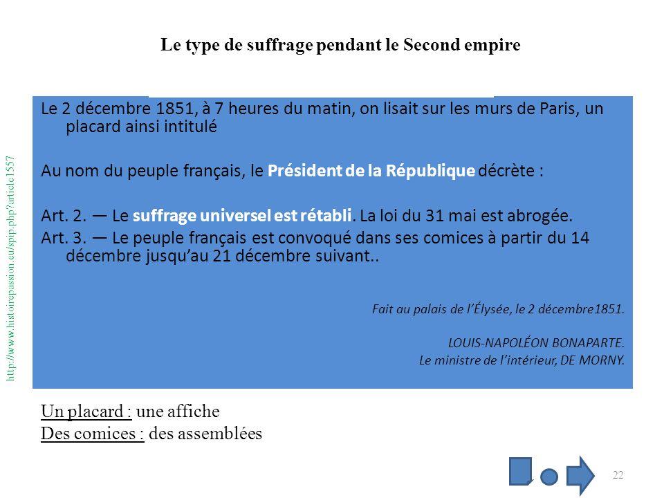 coup dEtat 2 décembre 1851 Le 2 décembre 1851, à 7 heures du matin, on lisait sur les murs de Paris, un placard ainsi intitulé Au nom du peuple français, le Président de la République décrète : Art.