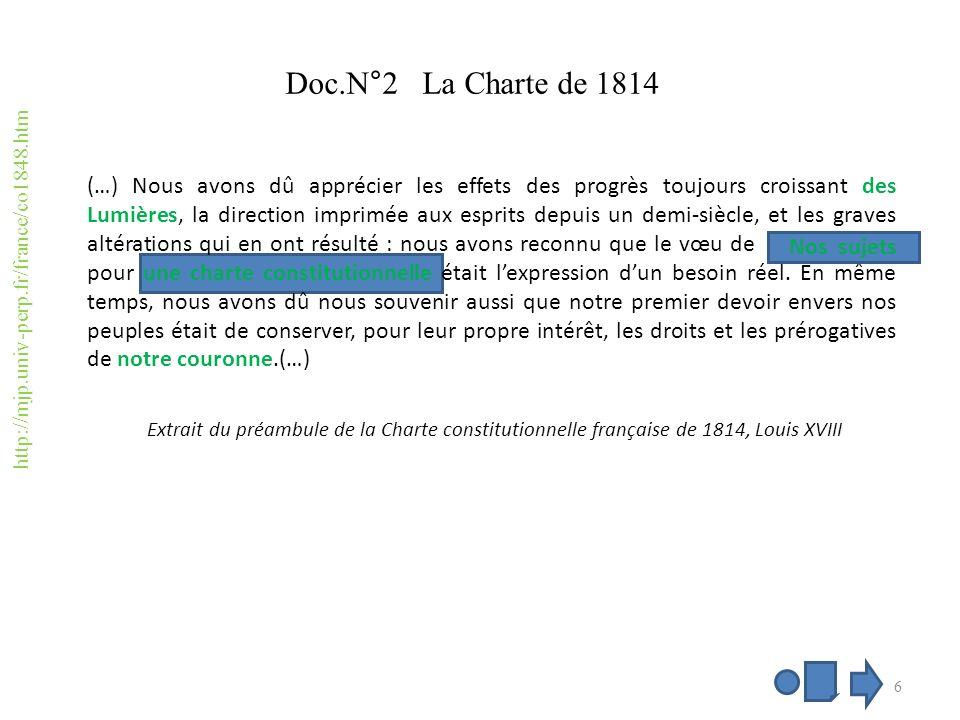Définition du mot charte Une charte : en 1814, ce mot désigne la Constitution, avec lidée quelle est accordée par Louis XVIII à ses sujets comme une faveur.