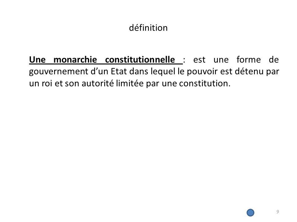 définition Une monarchie constitutionnelle : est une forme de gouvernement dun Etat dans lequel le pouvoir est détenu par un roi et son autorité limitée par une constitution.