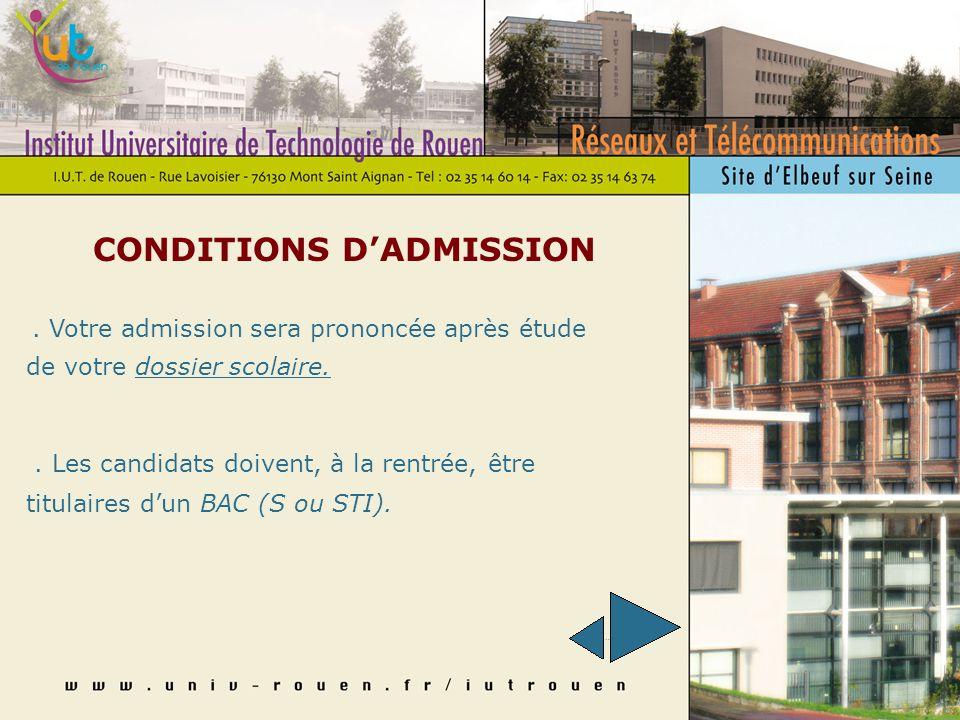 CONDITIONS DADMISSION. Votre admission sera prononcée après étude de votre dossier scolaire..