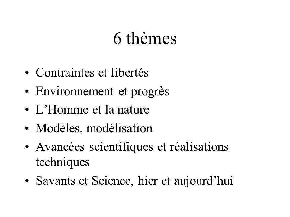 6 thèmes Contraintes et libertés Environnement et progrès LHomme et la nature Modèles, modélisation Avancées scientifiques et réalisations techniques