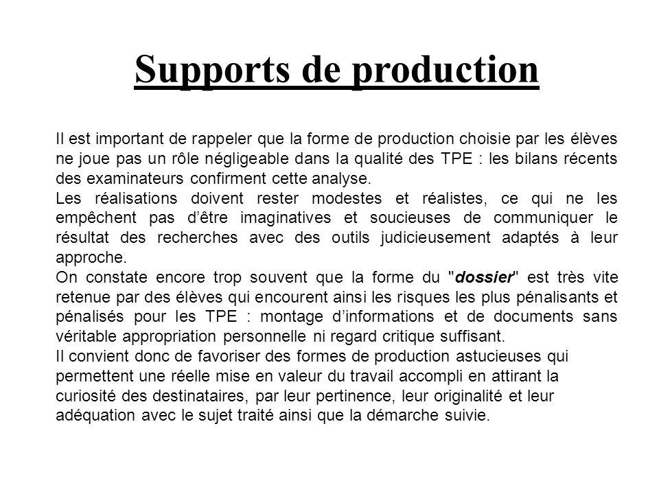 Supports de production Il est important de rappeler que la forme de production choisie par les élèves ne joue pas un rôle négligeable dans la qualité