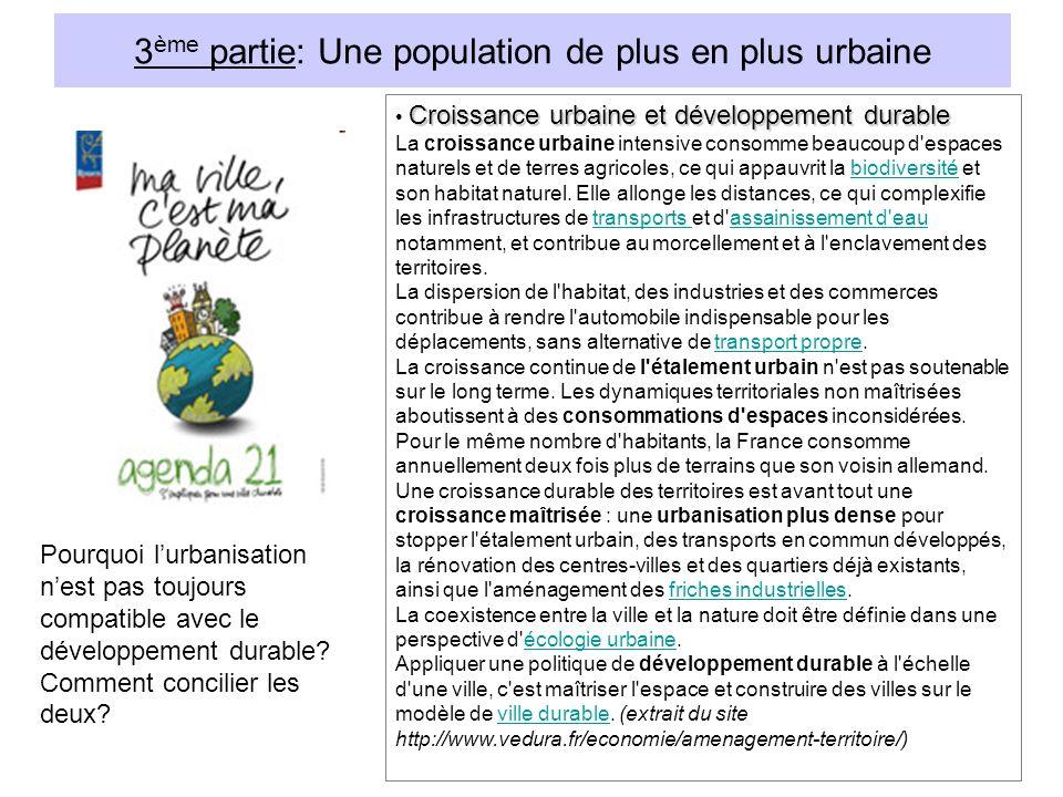 3 ème partie: Une population de plus en plus urbaine Croissance urbaine et développement durable La croissance urbaine intensive consomme beaucoup d espaces naturels et de terres agricoles, ce qui appauvrit la biodiversité et son habitat naturel.