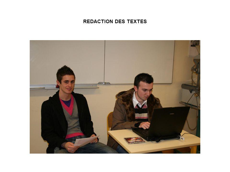 REDACTION DES TEXTES