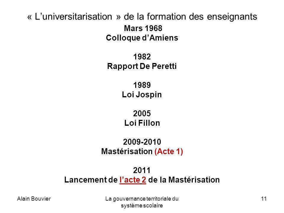 Alain BouvierLa gouvernance territoriale du système scolaire 11 « Luniversitarisation » de la formation des enseignants Mars 1968 Colloque dAmiens 198