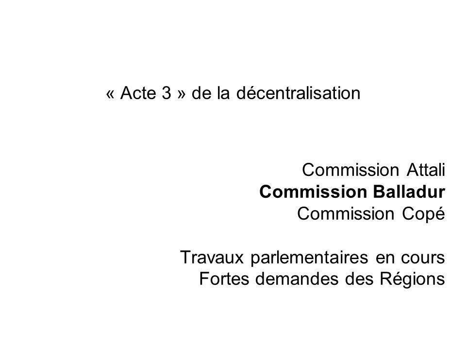 « Acte 3 » de la décentralisation Commission Attali Commission Balladur Commission Copé Travaux parlementaires en cours Fortes demandes des Régions
