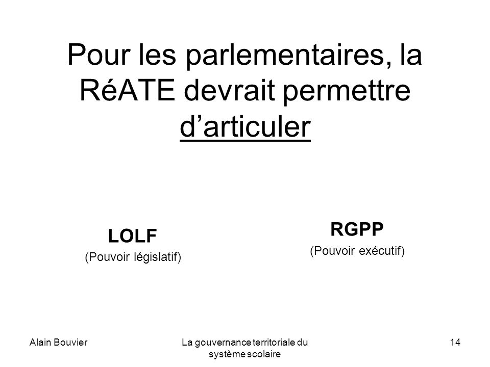Alain BouvierLa gouvernance territoriale du système scolaire 14 Pour les parlementaires, la RéATE devrait permettre darticuler LOLF (Pouvoir législatif) RGPP (Pouvoir exécutif)