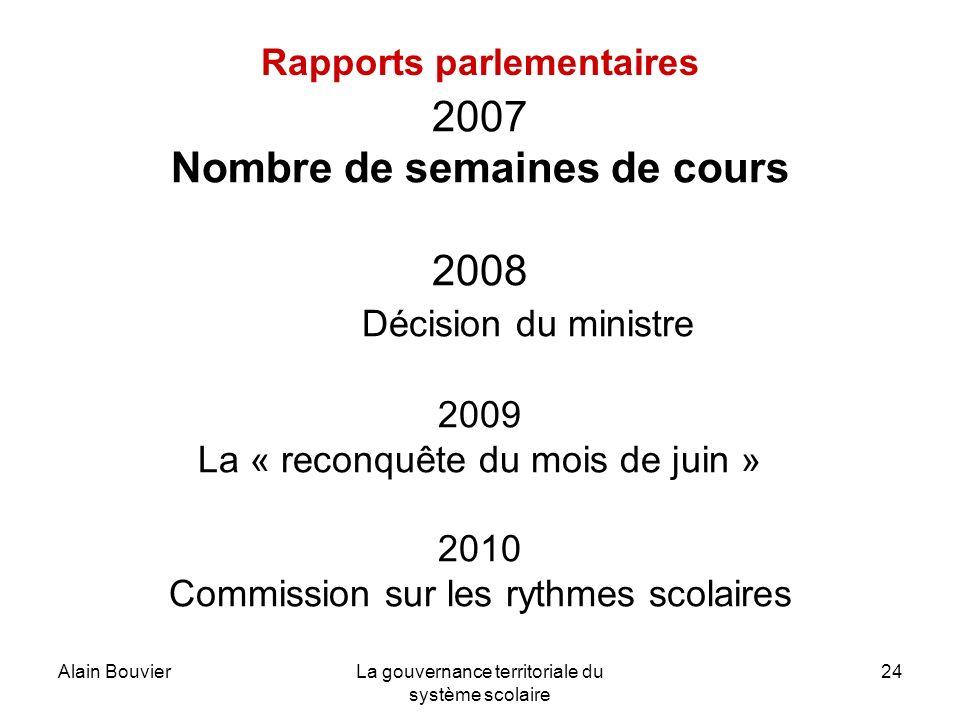 Alain BouvierLa gouvernance territoriale du système scolaire 24 Rapports parlementaires 2007 Nombre de semaines de cours 2008 Décision du ministre 200